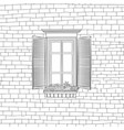 facade wall with window house engraved background vector image