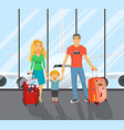 family on the airport vector image