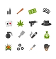Flat Isolated Gangster Icons vector image