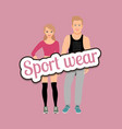 man and woman in fitness clothes vector image