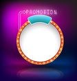 Retro vintage circle frame promotion neon vector image