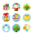 Set of 9 christmas icons on white background vector image