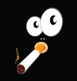 smoking cigarette on black background vector image