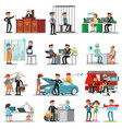colorful professions and occupations collection vector image
