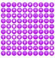 100 history icons set purple vector image