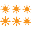 set The sun in different shapes vector image vector image