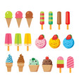 ice cream set for summer flat design isolated vector image