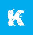 letter k cloud font symbol white alphabet sign on vector image