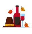 pilgrim hat with wine bottle glass and autumn vector image