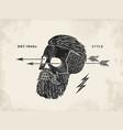 Poster of vintage skull hipster label Retro old vector image