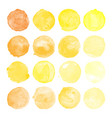 set of yellow watercolor shapes vector image