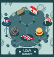 usa color isometric concept icons vector image