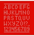 Embroided by cross stitch english alphabet with vector image