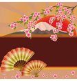 Background with fan mountain and sakura blossom vector image