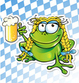 funny frog cartoon with beer glass vector image