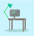 computer desk with black monitor and reading-lamp vector image