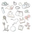 Hand drawn sport doodle set vector image