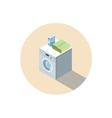 isometric of washing machine washing clothes vector image
