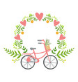 floral frame with hearts sticker template vector image