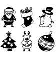 Christmas silhouette icons vector