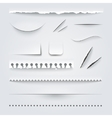 White Paper Edges Shadows Realistic Set vector image