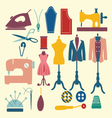 icons-set-sewing-and-fashion vector image