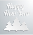 White paper Christmas tree on white background vector image