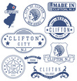 Clifton city New Jersey stamps and seals vector image