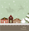 Christmas card with a winter town vector image