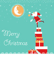 christmas card with Santa and nice moon blue card vector image