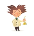 Bushy haired mad professor in lab coat holding vector image