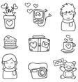 romance theme doodles vector image