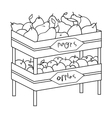 Raw food lying on rack shelves icon in outline vector image