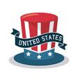top hat united states celebration ribbon design vector image