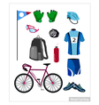 Set of Road Cycling Equipment on White Background vector image vector image