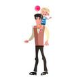 boy riding piggyback on his dad s shoulders vector image