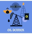 Oil derrick and mining concept vector image
