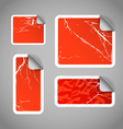 Shopping aged scratched discount red stickers vector image