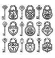 vintage antique old locks set vector image