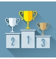 Trophy Cups on Podium vector image