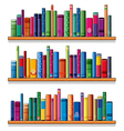 Wooden shelves with books vector image