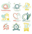 art and handmade craft logo templates flat set vector image vector image