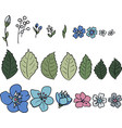 a set of multicolored wildflowers vector image