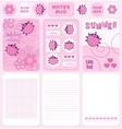 Cards and notes ladybug set vector image