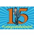 Congratulations 15 anniversary event celebration vector image
