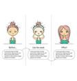 facial treatment three steps instruction girl vector image