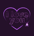 I love you Heart shape of neon vector image
