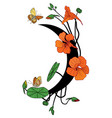 nasturtium butterflies and moon vector image