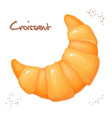 realistic isolated croissant on top view vector image