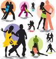 Set dance stars silhouettes vector image